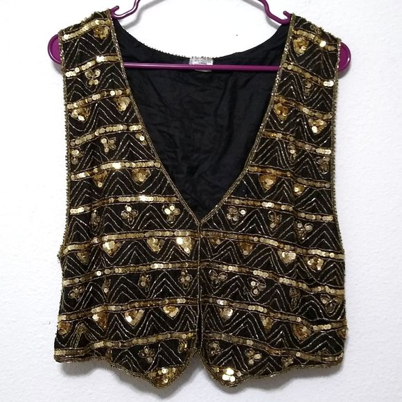 Vintage Jackets & Blazers - Vintage silk and sequin vest black gold bling